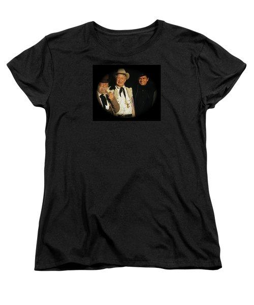 Women's T-Shirt (Standard Cut) featuring the photograph Edgar Buchanan Chills Wills  Johnny Cash Porch Old Tucson Arizona 1971-2008 by David Lee Guss