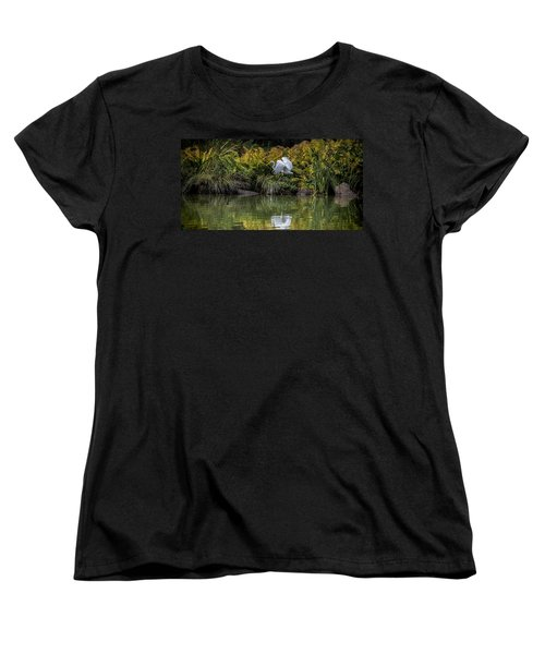 Women's T-Shirt (Standard Cut) featuring the photograph Egret At The Lake by Chris Lord
