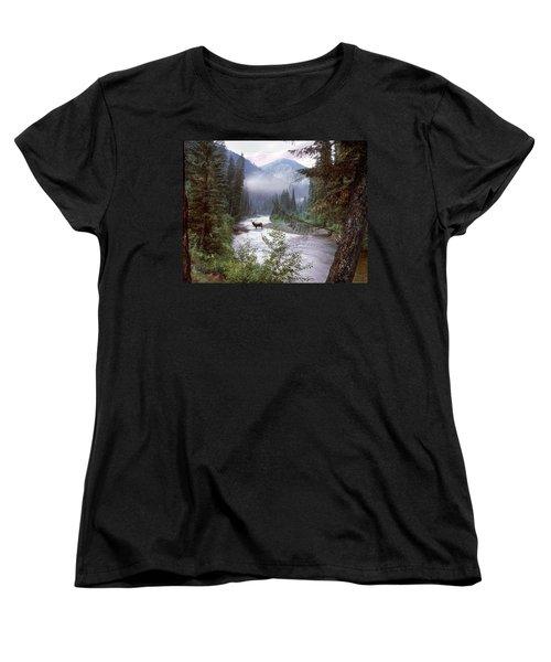 Elk Crossing 2 Women's T-Shirt (Standard Cut) by Leland D Howard