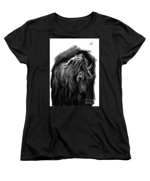 Women's T-Shirt (Standard Cut) featuring the drawing Equine 1 by Paul Davenport