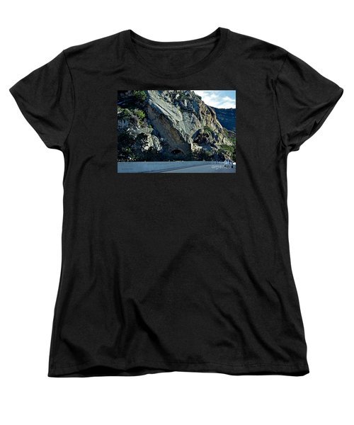 Women's T-Shirt (Standard Cut) featuring the photograph Eroding Hillside And Tunnel by Susan Wiedmann