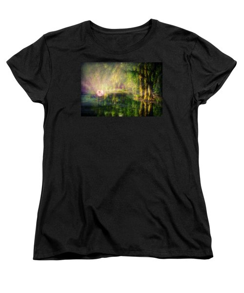Fairy In Pink Bubble In Serenity Forest Women's T-Shirt (Standard Cut) by Lilia D