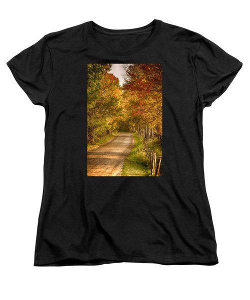 Women's T-Shirt (Standard Cut) featuring the photograph Fall Color Along A Peacham Vermont Backroad by Jeff Folger