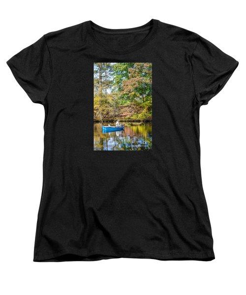 Women's T-Shirt (Standard Cut) featuring the photograph Fishing Reflection by Debbie Green