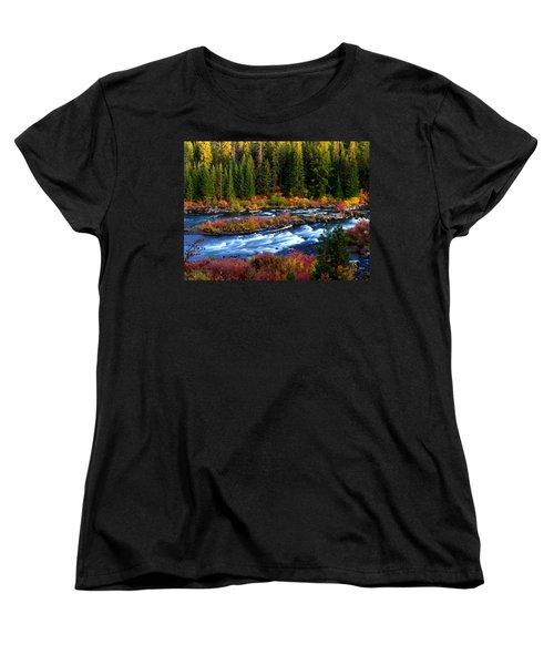 Fall On The Deschutes River Women's T-Shirt (Standard Cut) by Kevin Desrosiers