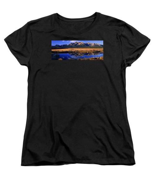 Women's T-Shirt (Standard Cut) featuring the photograph Fall Reflections Sawtooth Mountains Idaho by Dave Welling