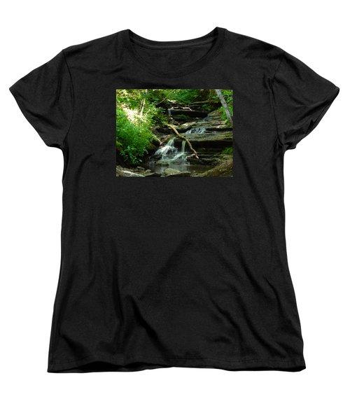 Women's T-Shirt (Standard Cut) featuring the photograph Falling Water by Alan Lakin