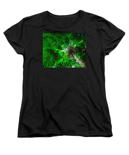 Women's T-Shirt (Standard Cut) featuring the photograph Fan Palm Tree Of The Rainforest by Peta Thames