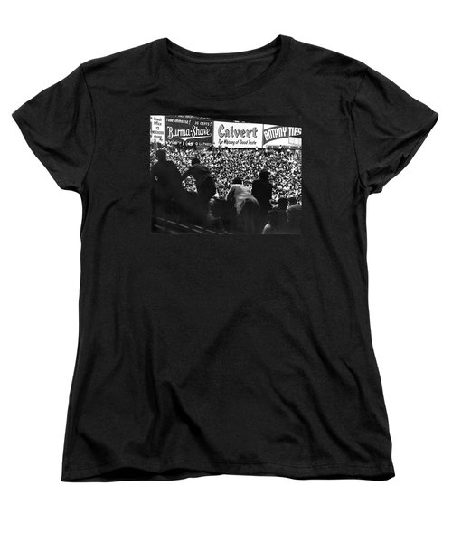 Fans In The Bleachers During A Baseball Game At Yankee Stadium Women's T-Shirt (Standard Cut) by Underwood Archives