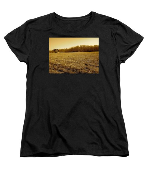 Farm Field With Old Barn In Sepia Women's T-Shirt (Standard Cut) by Amazing Photographs AKA Christian Wilson