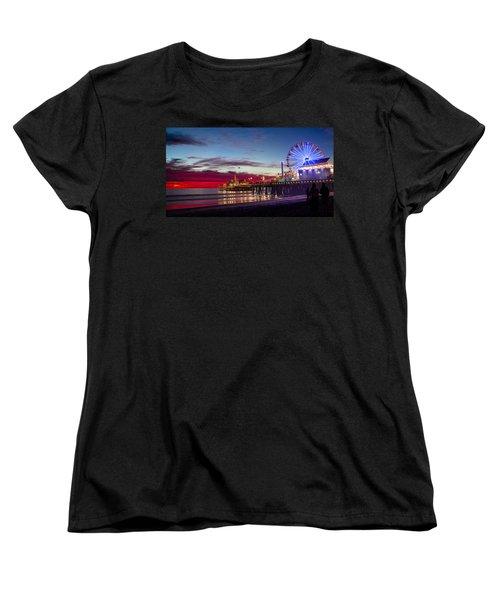 Ferris Wheel On The Santa Monica California Pier At Sunset Fine Art Photography Print Women's T-Shirt (Standard Cut) by Jerry Cowart
