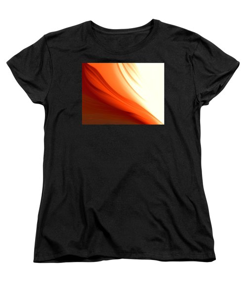 Women's T-Shirt (Standard Cut) featuring the digital art Glowing Orange Abstract by Gabriella Weninger - David