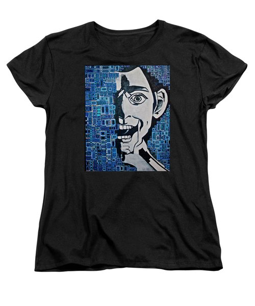 Women's T-Shirt (Standard Cut) featuring the painting Fats And The Raven by Donna Howard