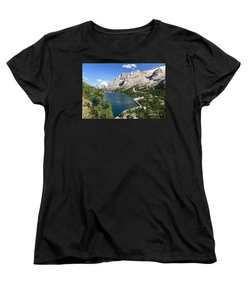 Women's T-Shirt (Standard Cut) featuring the photograph Fedaia Pass With Lake by Antonio Scarpi