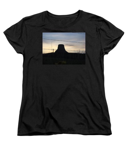 Women's T-Shirt (Standard Cut) featuring the photograph Fencing Devil's Tower by Cathy Anderson