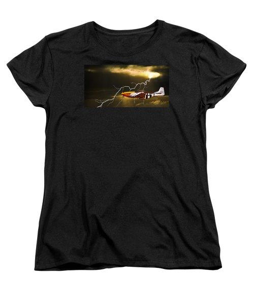 Women's T-Shirt (Standard Cut) featuring the photograph Ferocious Frankie In A Storm by Meirion Matthias