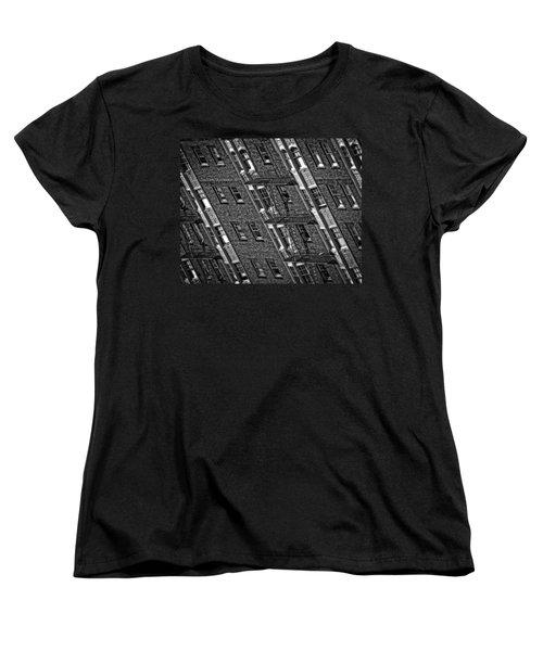 Fire Escape - Monochrome Women's T-Shirt (Standard Cut) by Mark Alder