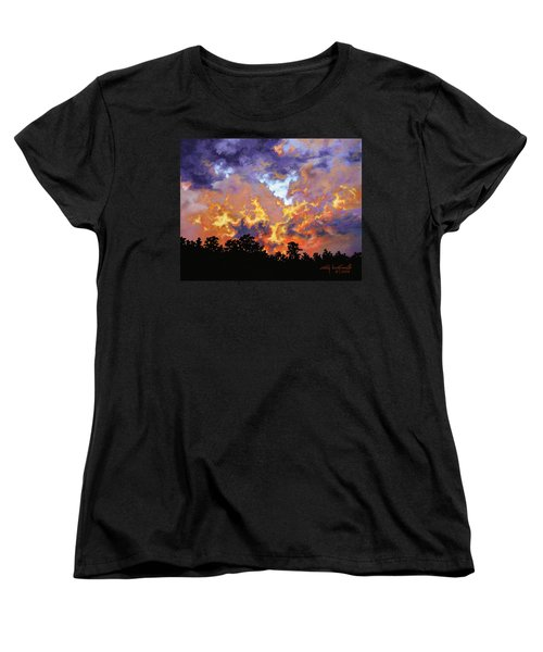 Women's T-Shirt (Standard Cut) featuring the painting Fire In The Sky by Craig T Burgwardt
