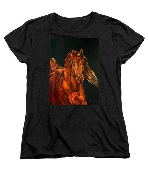 Women's T-Shirt (Standard Cut) featuring the painting Fire by Leena Pekkalainen