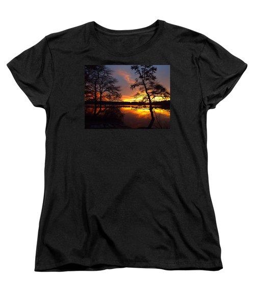 Women's T-Shirt (Standard Cut) featuring the photograph Sunrise Fire by Dianne Cowen