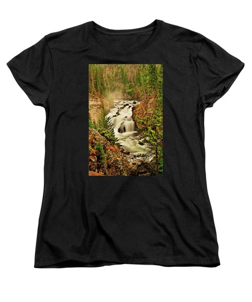 Firehole Falls Women's T-Shirt (Standard Cut) by Greg Norrell