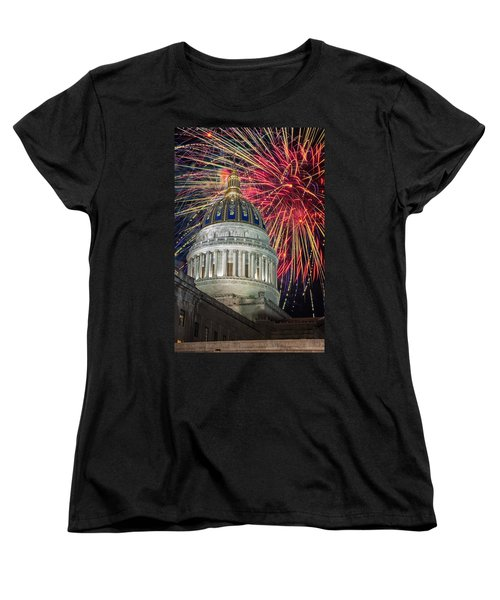 Fireworks At Wv Capitol Women's T-Shirt (Standard Cut) by Mary Almond