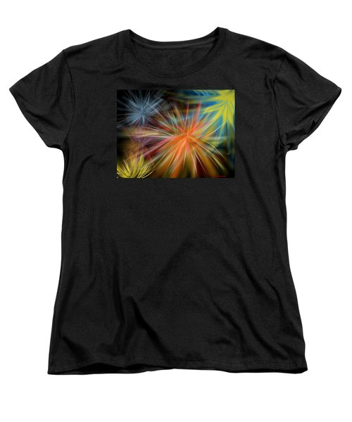 Women's T-Shirt (Standard Cut) featuring the digital art Fireworks by Christine Fournier