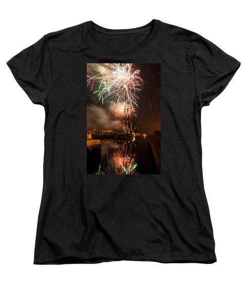 Fireworks Exploding Over Salem's Friendship Women's T-Shirt (Standard Cut) by Jeff Folger
