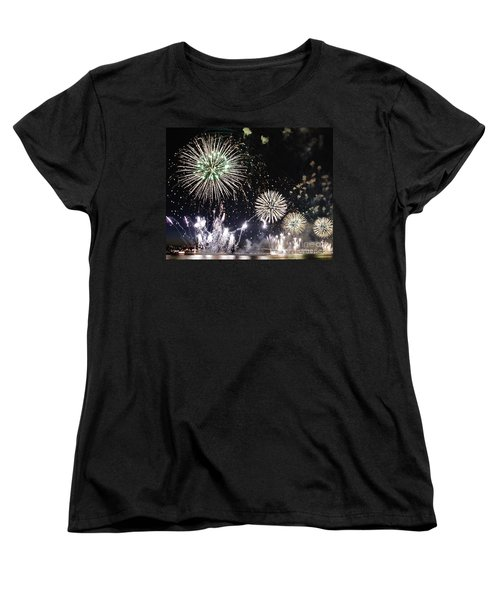 Women's T-Shirt (Standard Cut) featuring the photograph Fireworks Over The Hudson River by Lilliana Mendez