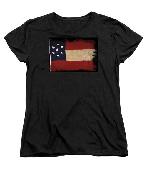 First Confederate Flag Women's T-Shirt (Standard Cut) by Daniel Hagerman