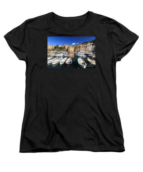 Women's T-Shirt (Standard Cut) featuring the photograph fishing boats in Camogli by Antonio Scarpi