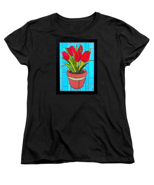 Five Red Tulips Women's T-Shirt (Standard Cut) by Jim Harris