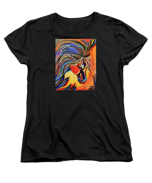Women's T-Shirt (Standard Cut) featuring the painting Flame Bold And Colorful War Horse by Janice Rae Pariza
