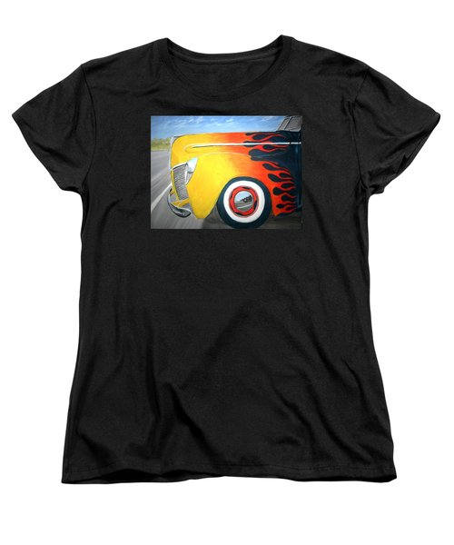 Women's T-Shirt (Standard Cut) featuring the painting Flames by Stacy C Bottoms
