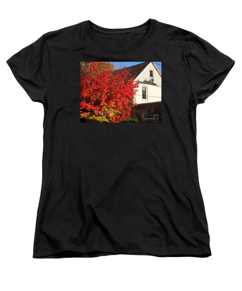 Women's T-Shirt (Standard Cut) featuring the photograph Flaming Fall Colours On Farm House by Nina Silver