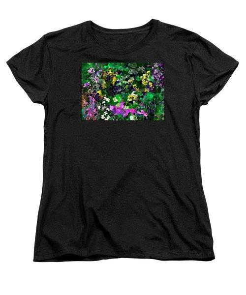 Women's T-Shirt (Standard Cut) featuring the digital art Flower Garden by David Lane