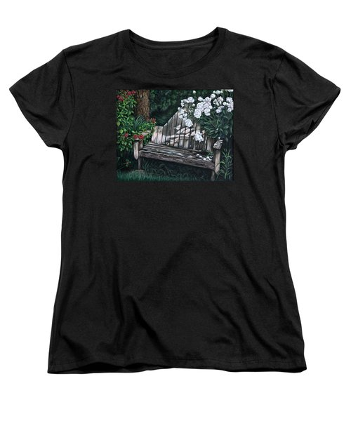 Women's T-Shirt (Standard Cut) featuring the painting Flower Garden Seat by Penny Birch-Williams