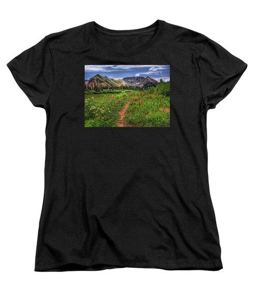 Women's T-Shirt (Standard Cut) featuring the photograph Flower Walk by Priscilla Burgers
