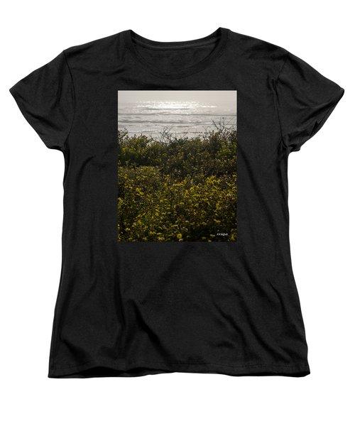 Flowers And The Sea Women's T-Shirt (Standard Cut) by Allen Sheffield