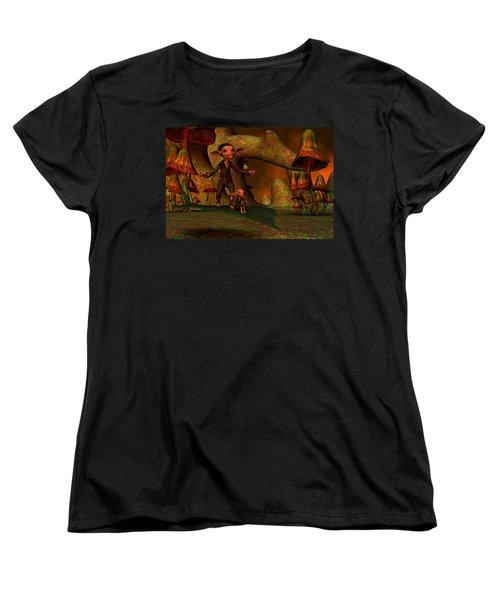 Women's T-Shirt (Standard Cut) featuring the digital art Flying Through A Wonderland by Gabiw Art