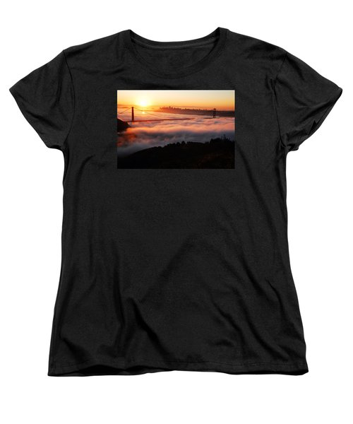 Women's T-Shirt (Standard Cut) featuring the photograph Foggy Morning San Francisco by James Kirkikis