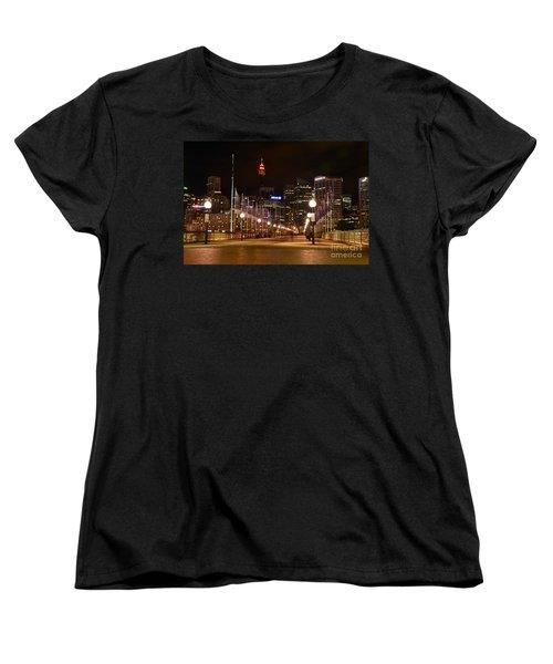Foot Bridge By Night Women's T-Shirt (Standard Cut) by Kaye Menner