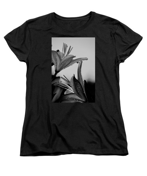 For The Love Of Lillies Bw Women's T-Shirt (Standard Cut) by Lesa Fine