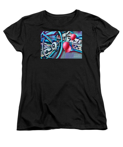 Ford Fairlane 500 Dashboard- Warhol-esque Women's T-Shirt (Standard Cut) by Liane Wright