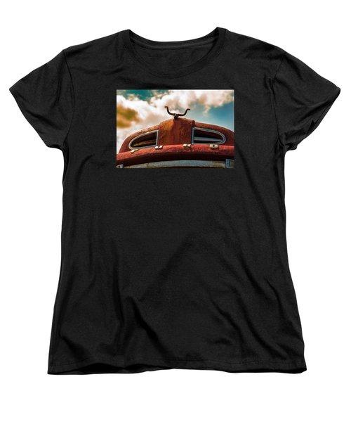 Women's T-Shirt (Standard Cut) featuring the photograph Ford Hood Ornament by Bartz Johnson