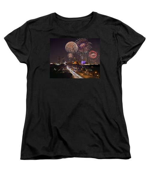 Women's T-Shirt (Standard Cut) featuring the photograph Fort Worth Skyline At Night Fireworks Color Evening Ft. Worth Texas by Jon Holiday