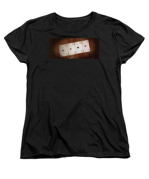 The Four Aces Women's T-Shirt (Standard Cut) by Daniel Precht