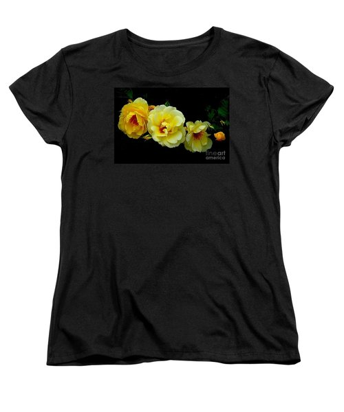 Women's T-Shirt (Standard Cut) featuring the photograph Four Stages Of Bloom Of A Yellow Rose by Janette Boyd