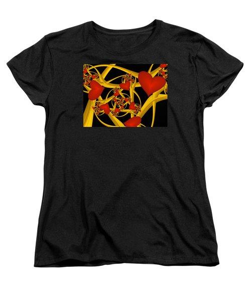 Fractal Love Ist Gold Women's T-Shirt (Standard Cut) by Gabiw Art