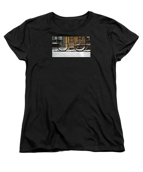 From My Fire Escape - Arches In The Snow Women's T-Shirt (Standard Cut) by Miriam Danar